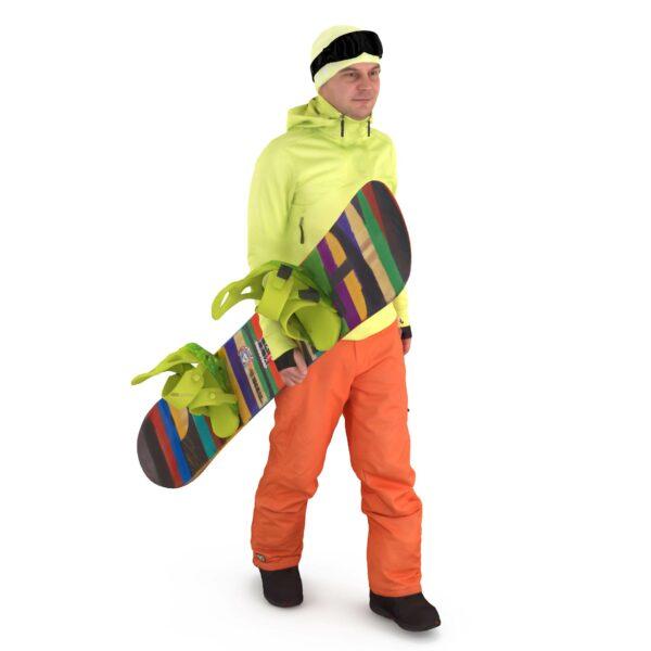 Snowboarder walking 3d model - Renderbot