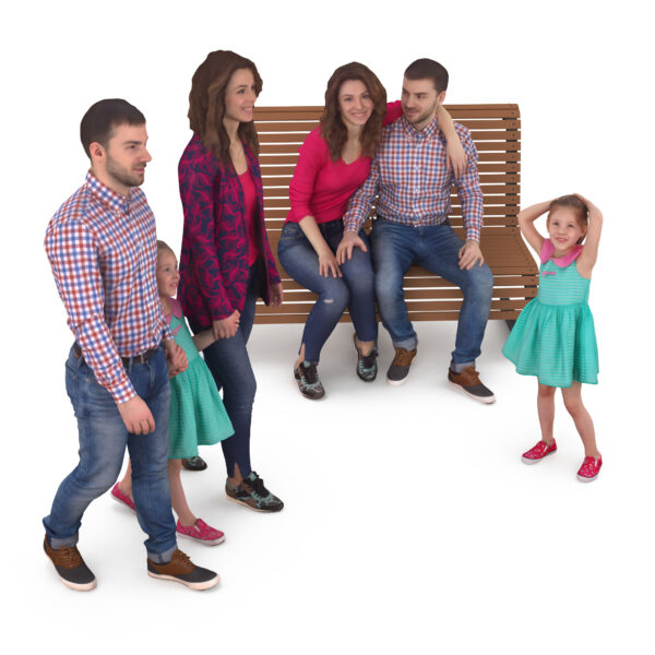 Family 3d people park collection x3 3d models - Renderbot