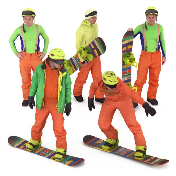 Snowboarder 3d collection scanned 3d model - Renderbot