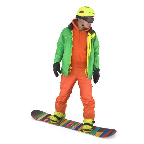 Snowboarder on board scanned 3d man - Renderbot