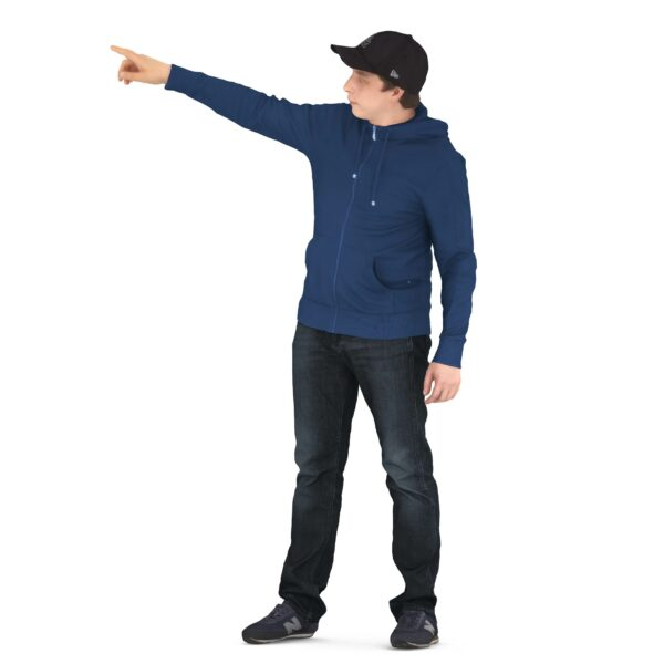 3d man pointing finger scanned 3d model - Renderbot