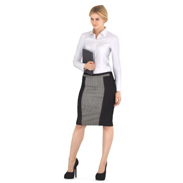 Businesswoman 3d standing with pad scanned 3d model - Renderbot