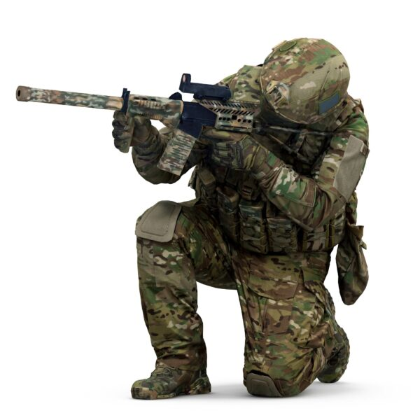 3d man in military uniform scanned 3d model - Renderbot