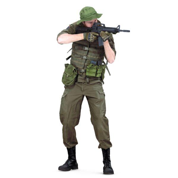 3d man in military uniform standing pose scanned 3d model - Renderbot