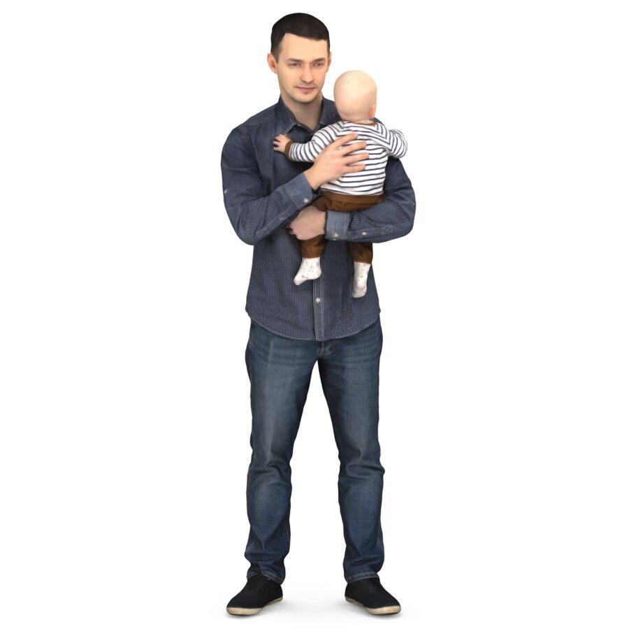 3d scanned man and child - scanned 3d model - Renderbot