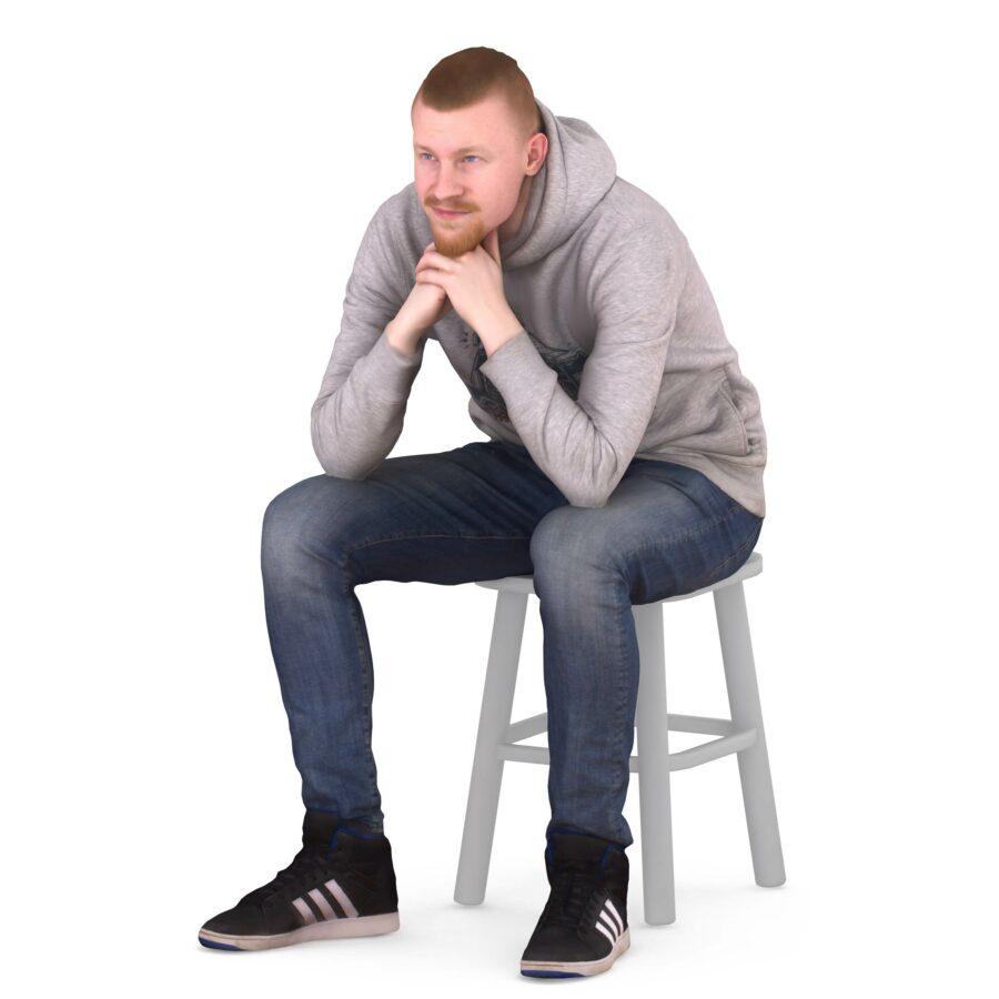 Bearded 3d scanned man sitting - scanned 3d model - Renderbot