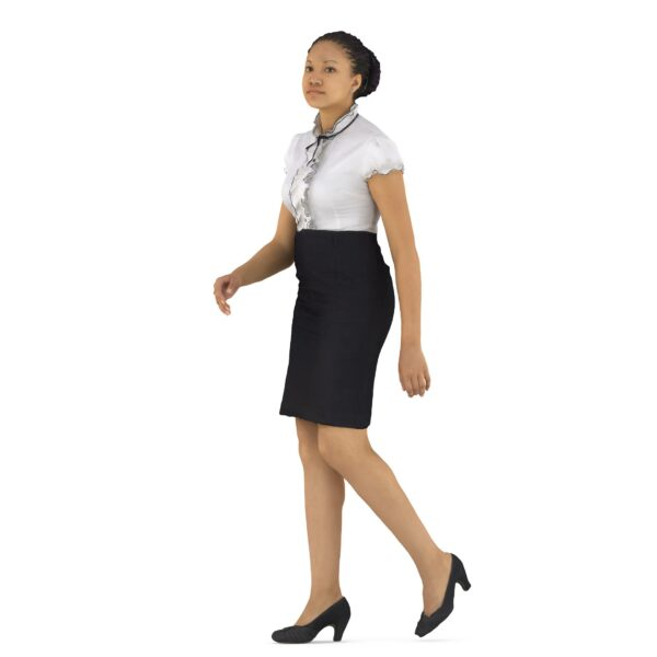 Business woman 3d walking pose scanned 3d model - Renderbot