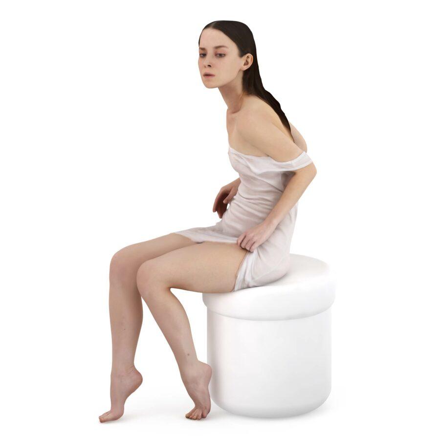 Woman 3d in nighty - scanned 3d model - Renderbot