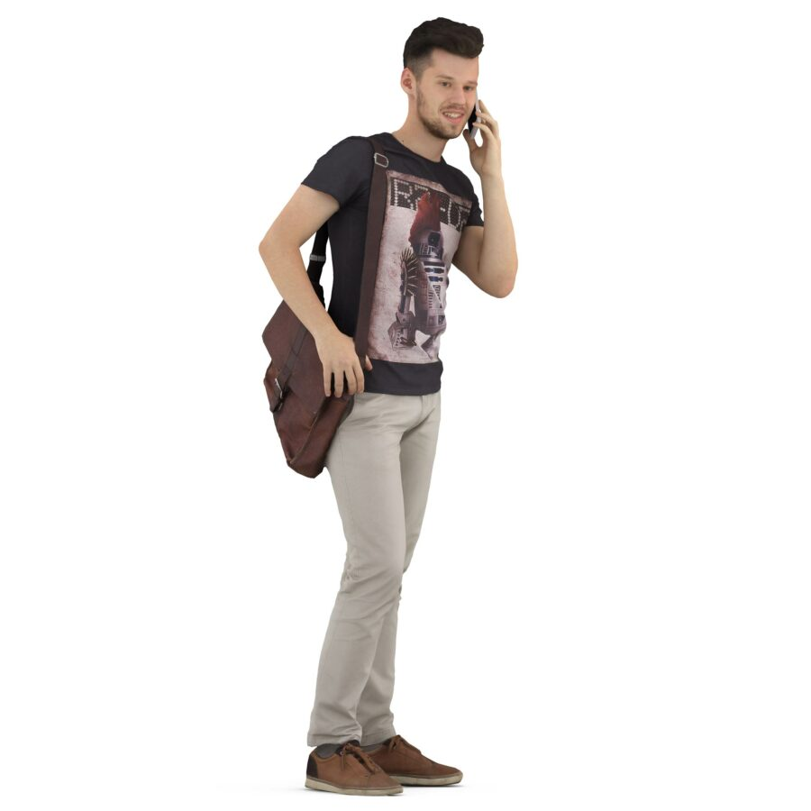 3d man with phone in casual clothes scanned 3d model - Renderbot