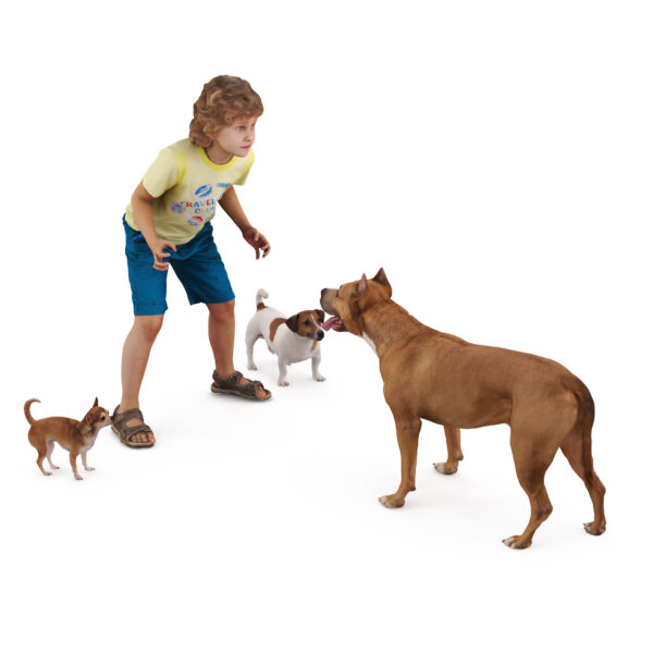 3d Child and 3d dogs collection x4 3d models - Renderbot