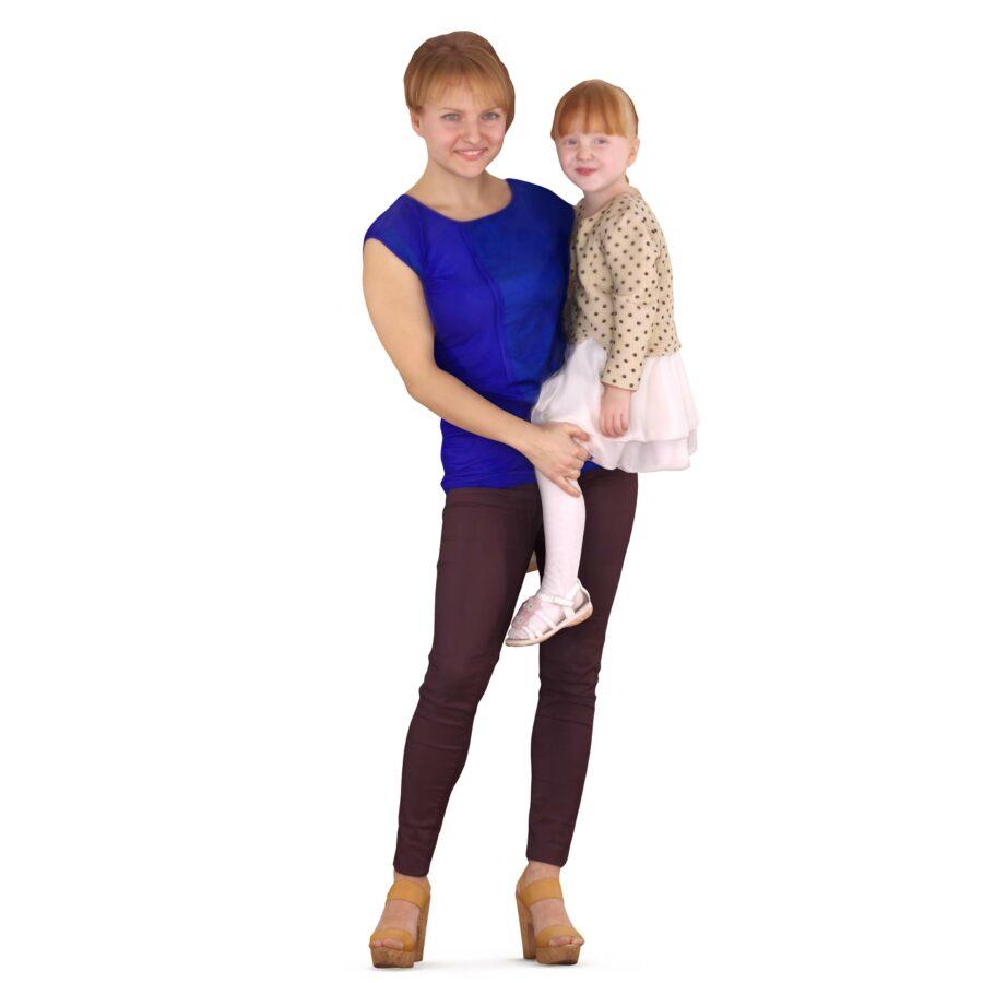 Mother and daughter 3d models - scanned 3d model - Renderbot