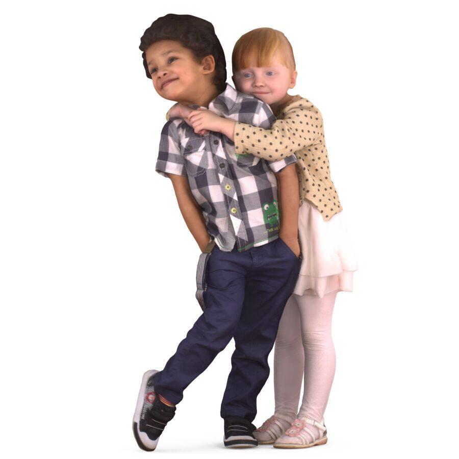 3d children hugging - scanned 3d model - Renderbot