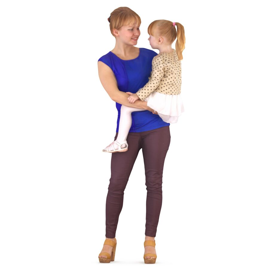 Mom holds daughter in her arms - scanned 3d model - Renderbot