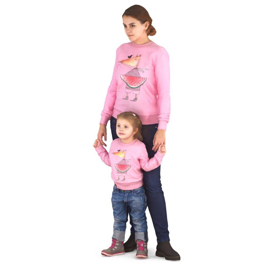 Mom and daughter posing 3d models - scanned 3d model - Renderbot