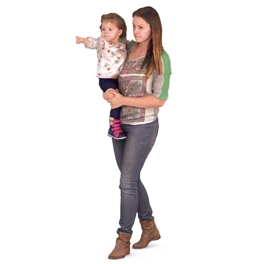Mom and daughter walking pose 3d models - scanned 3d model - Renderbot