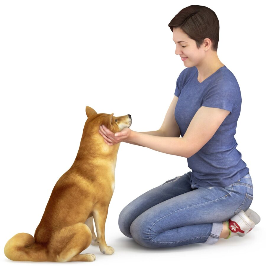 Girl holding Shiba inu dog 3d model - scanned 3d models - Renderbot
