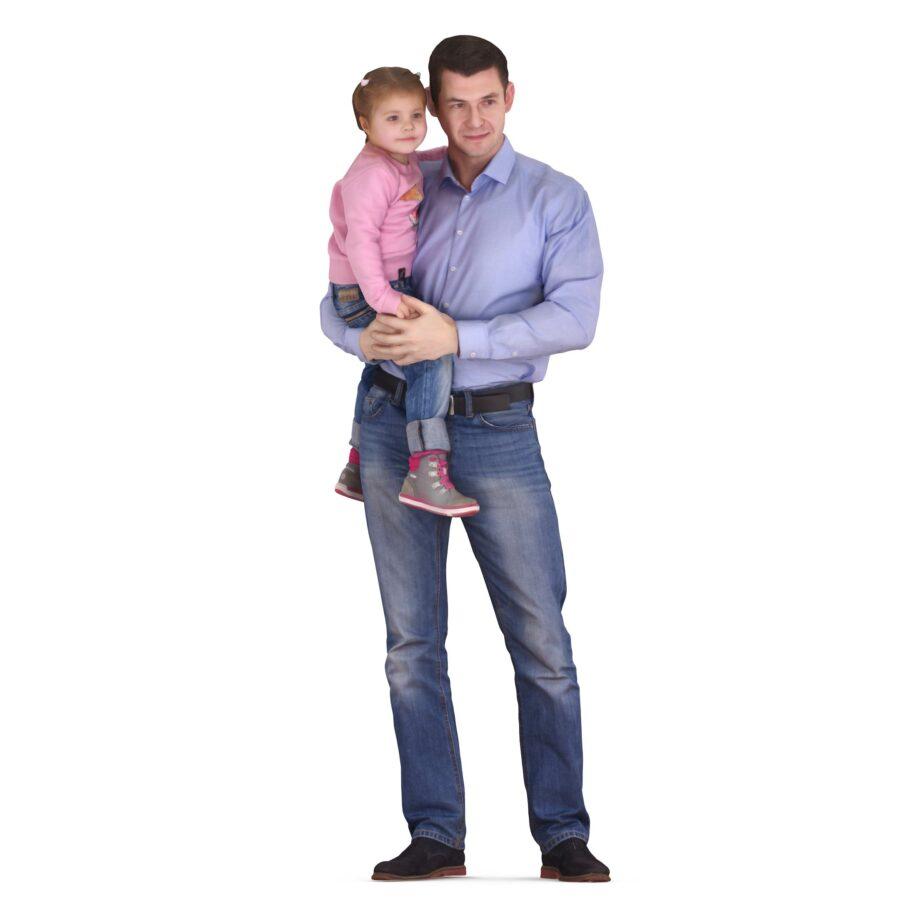 Dad and daughter posing 3d models - scanned 3d model - Renderbot