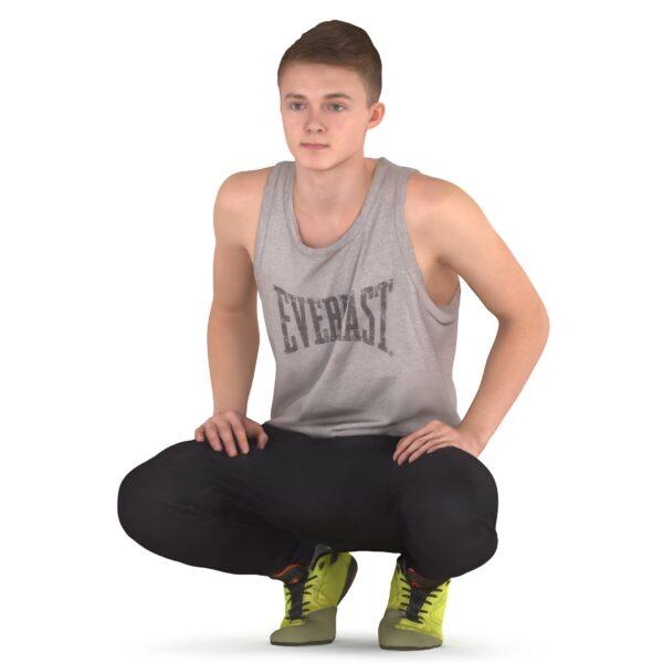 3d sportsman squatting scanned 3d model - Renderbot
