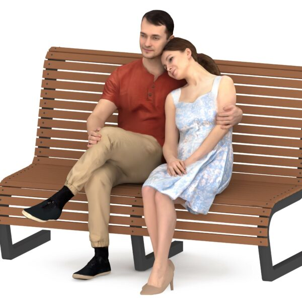 Couple 3d people sitting - scanned 3d people -Renderbot