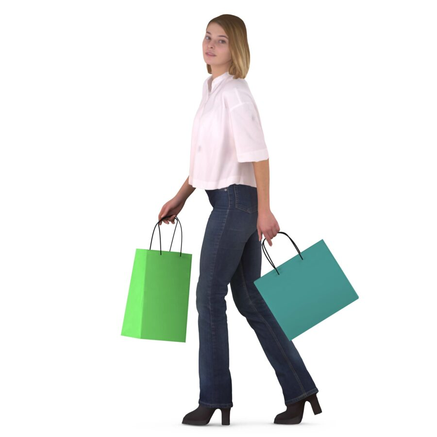 3d woman with shopping bags - scanned 3d model - Renderbot