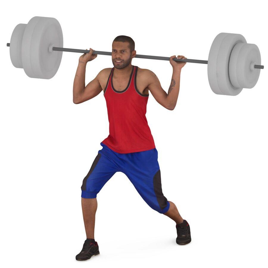 Sportsman with barbell - scanned 3d models - Renderbot