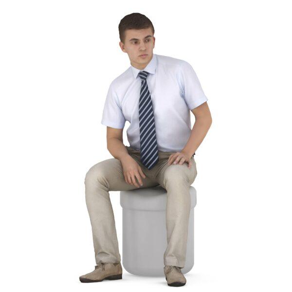 3d scanned man sitting pose - scanned 3d model - Renderbot