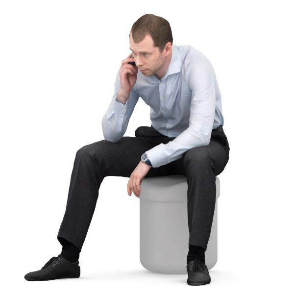 3d scanned man sitting pose with phone - scanned 3d model - Renderbot