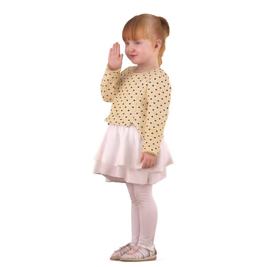 3d girl waving hand - scanned 3d model - Renderbot