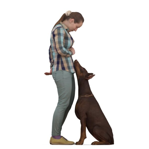 Woman and 3d doberman - scanned 3d models - Renderbot