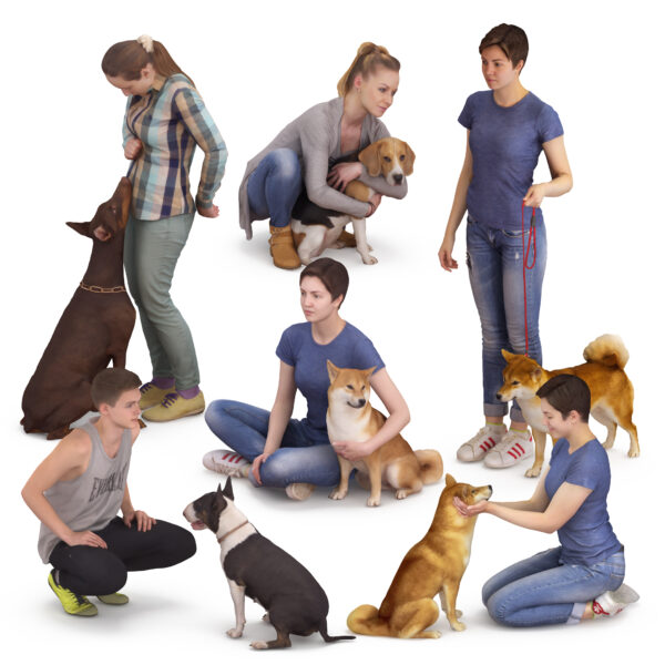 3d people and 3d dogs collection x7 3d models- Renderbot