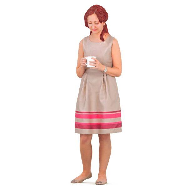 3d woman drinking a drink - scanned 3d model - Renderbot