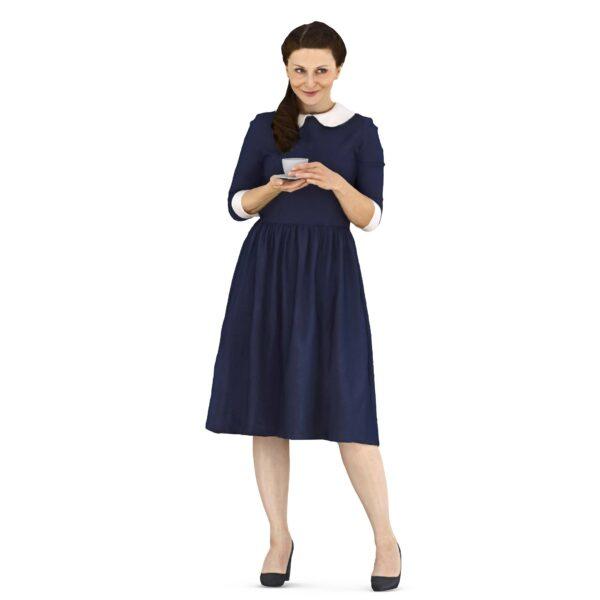 3d scanned woman in blue dress - scanned 3d model - Renderbot