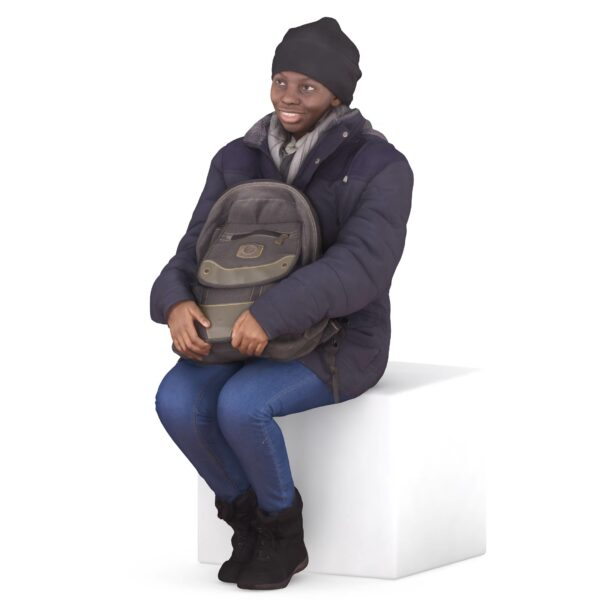 3d woman sitting with backpack - scanned 3d model - Renderbot