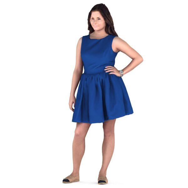 3d woman in blue dress - scanned 3d model - Renderbot