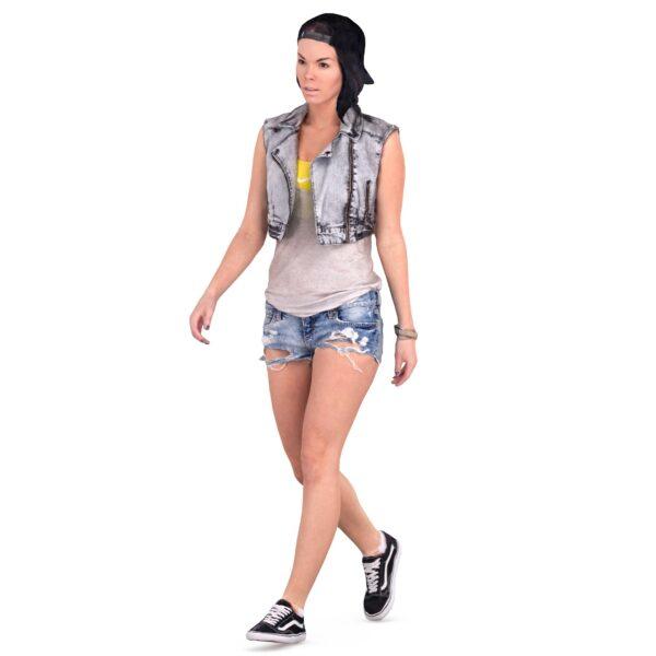 3d woman in denim shorts - scanned 3d model - Renderbot