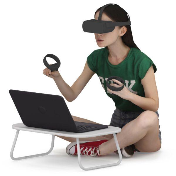 3d girl in vr glasses sitting pose - scanned 3d model - Renderbot