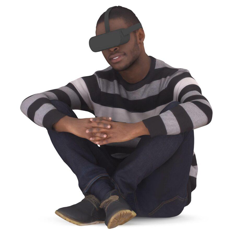 3d man in VR glasses sitting pose - scanned 3d model - Renderbot