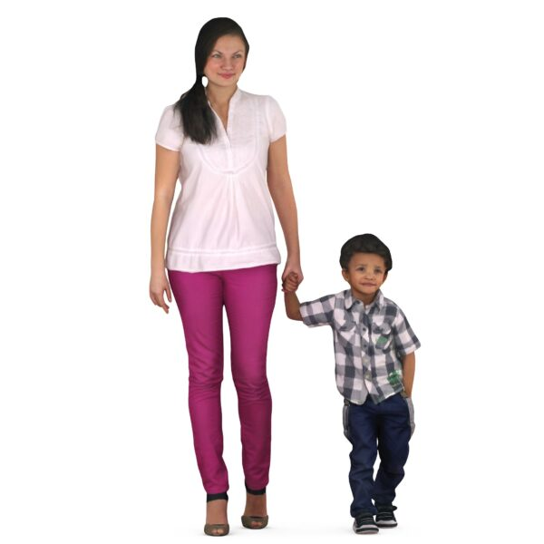 Mom and son are walking hand in pocket - scanned 3d model - Renderbot