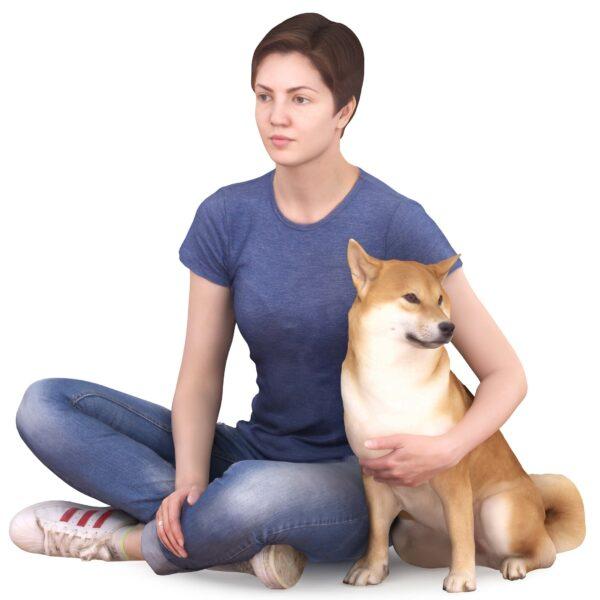 Girl and Shiba inu dog 3d model - scanned 3d models - Renderbot