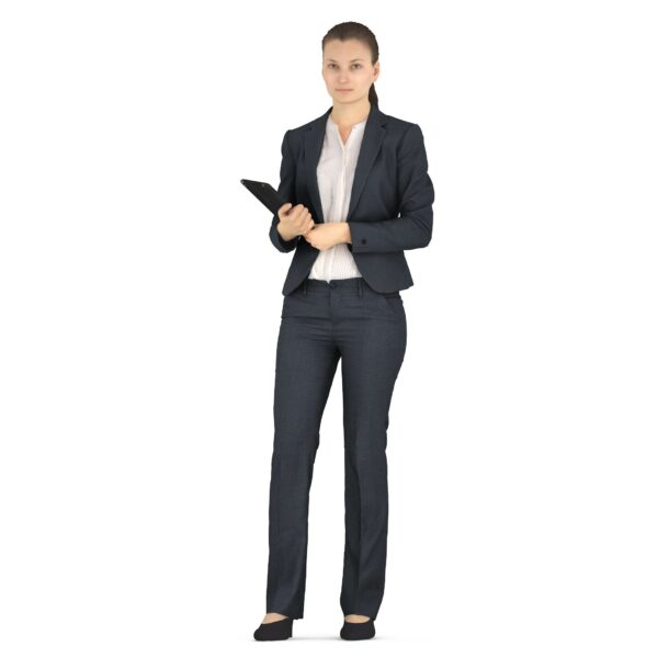 3d woman in business suit with folder - scanned 3d models - Renderbot