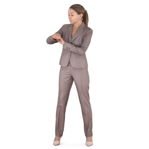 3d woman business suit checking time - scanned 3d models - Renderbot