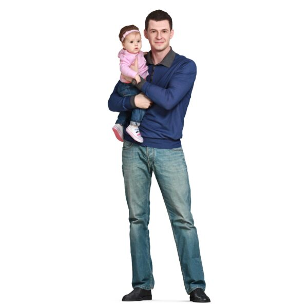 Dad and baby posing 3d models - scanned 3d model - Renderbot