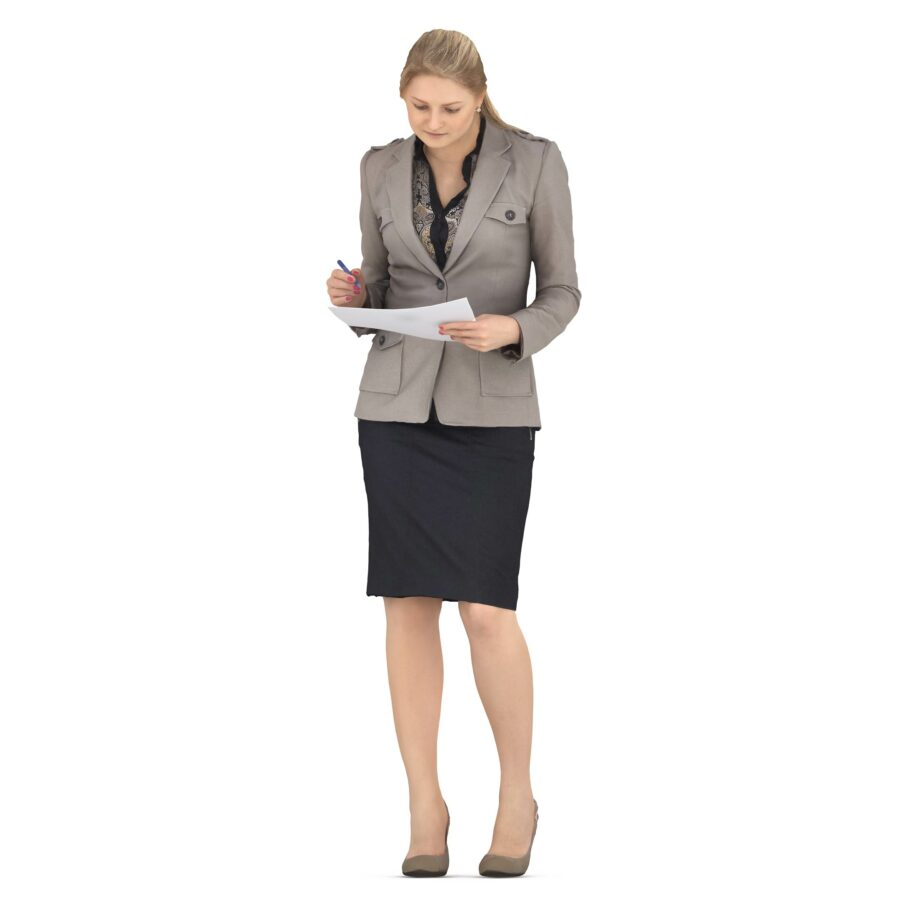 3d woman in a business suit reads documents - scanned 3d models - Renderbot