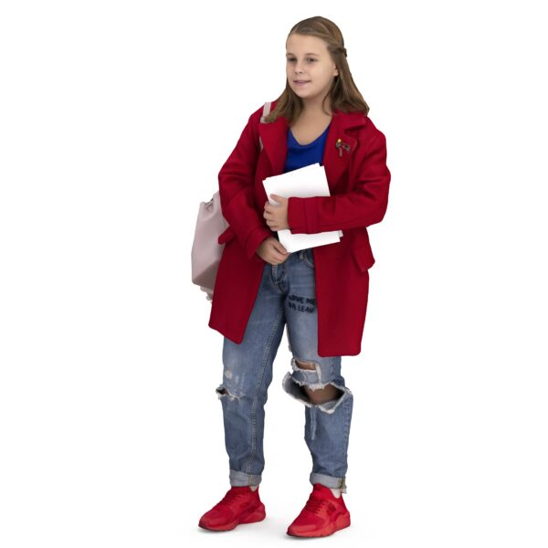 School girl with books - scanned 3d model - Renderbot
