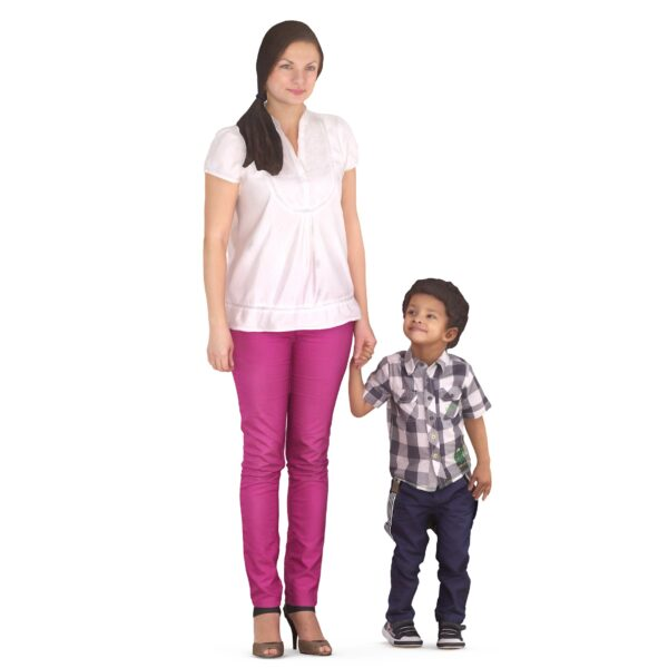 Mom and son are walking 3d models - scanned 3d model - Renderbot