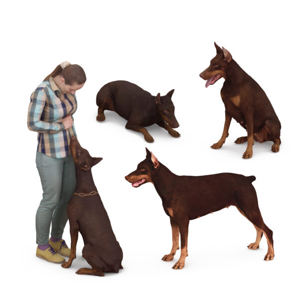 3d woman and doberman - 3d collection -Renderbot
