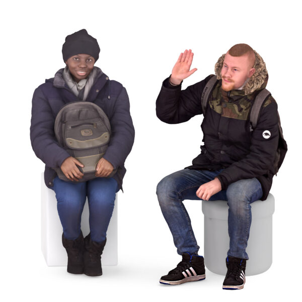 Couple of 3d people wearing winter clothes - scanned 3d models - Renderbot