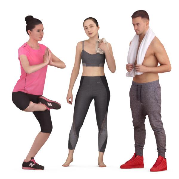 Fitness 3d people x3 - scanned 3d models - Renderbot