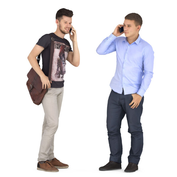 Guys are talking on the phone - scanned 3d models - Renderbot