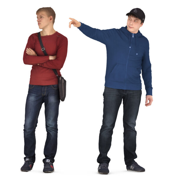 Couple of 3d people pointing - scanned 3d models - Renderbot
